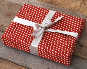 Reusable Fabric Gift Wrapping, Wine Colour Fabric with Heart Print & Silver ribbon