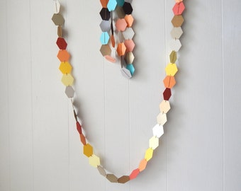 Hexagon Honeycomb Garland Bunting / Geometric wall hanging