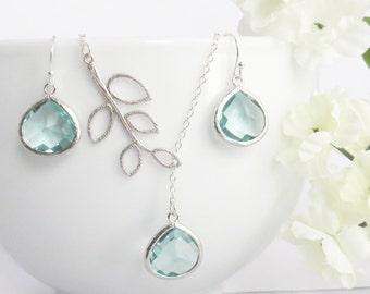 Aquamarine Lariat Necklace and Earrings Set, Aquamarine Set, Mom Gift, Mothers Day Gift, Bridesmaid Jewelry, Bridesmaid Set, Mom Jewelry