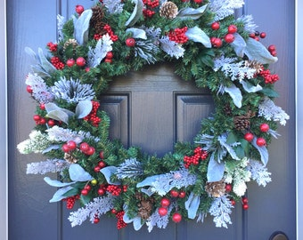Large Christmas Wreath, Red White Green Wreath, Holiday Decor, Large Door Wreaths, Faux Evergreen, Winter Wreaths, Winter Decor, Christmas