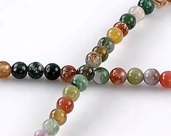 Set of 50 spacer beads gemstone agate 4 mm