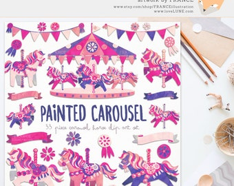 3 FOR 2. Watercolor Clipart. Carousel Horse Clip Art. Painted Pink Little Pony Illustration. Cute Pink Scrapbook Party. Bunting. Decorative.
