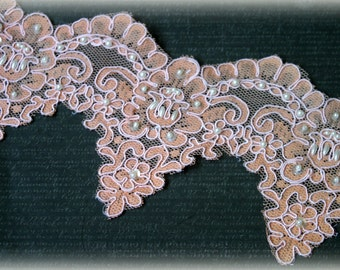 Lace  Trim Wide Embroidered Alencon Lace with Pearls and Sequins for Bridal, Applique, Couture Design, Lace Jewelry, Sashes, Crafting LA-158