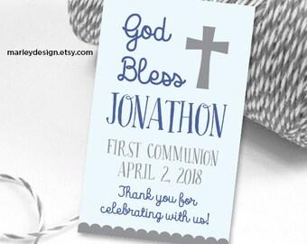 First Communion Tags Printable Communion Tags Boys First Communion Favor Tags Communion Thank You Tags Digital Tags
