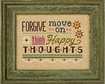 Lizzie Kate Flip-It F149 - Forgive Move On - Counted Cross Stitch Chart Pattern with Button
