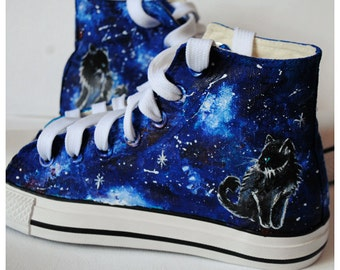 Hand  painted cat shoes, galaxy cat, space cat, kitty, black cat, night shoes, custom snekers, galaxy cat shoes