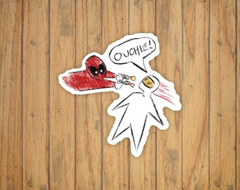 Deadpool Movie (Ouchie Drawing) Decal/Sticker