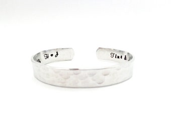 Gift For Her, Custom Secret Message Cuff Bracelet, Time and Distance Mean Nothing Between Sisters, Customizable