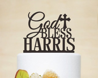 Baptism Cake Topper With Name And Cross,Personalized Cake Topper With Name,Baptism Gift,Personalized Christenings,God Bless Cake Topper C108