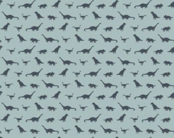 Fossil Tiny Blue Dinosaurs, Fossil Rim by Deena Rutter for Riley Blake Designs