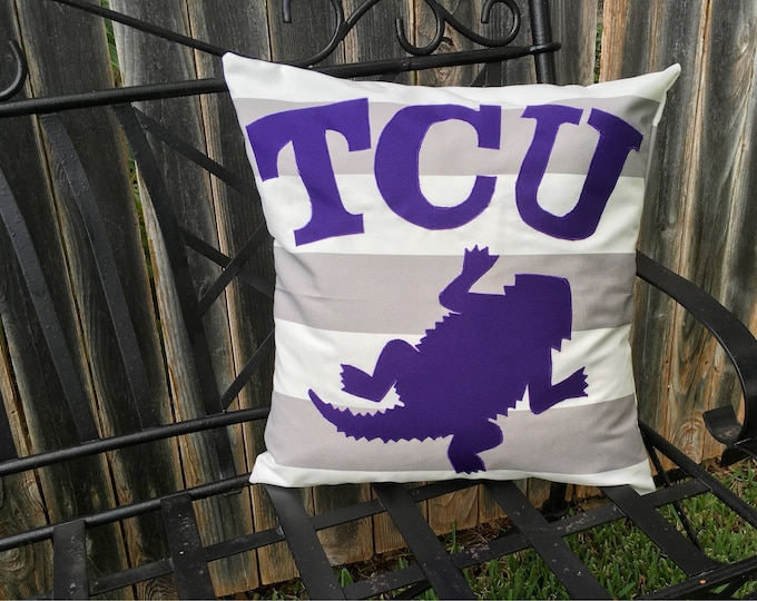 Gray and White Striped Outdoor TCU Horned Frog Pillow 20x20 Pillow Cover outdoor Decor Gameday TCU decor Ready to Ship