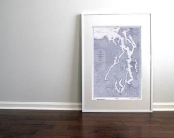 Puget Sound Washington State Nautical Chart Map 1957 Blue DIGITAL PRINT, Downloadable, 20 x 30, Map Art Prints, Printable Art, Chart Maps