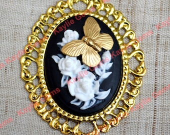 Butterfly Flower Cameo Pendant Antique Gold Black Base 40x30 Frame Brooch Base - 1 pc