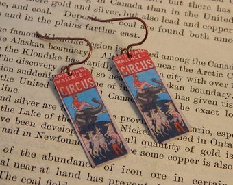 Circus earrings Circus Jewelry 1950's poster image mixed media jewelry