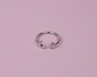 Moon and Star Ring, Silver Moon and Star Ring, Sterling Silver Moon and Star Ring, Star Ring, Boho Ring, Moon Ring, Stacking Ring