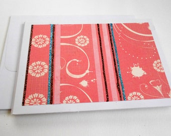 Pink Note Card Set with Envelopes - Pink Stationery Set, Set of 5 Blank Notecards with Glitter Embellishments