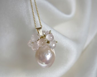 Solid gold pendant with chain pearl with tiny rose quartz briolette gold pendant with necklace bead with tiny little rose quartz Briolett