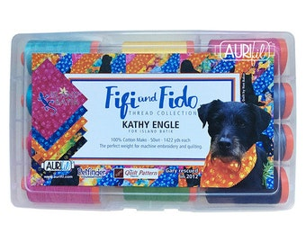 AURIFIL Set of 12 MAKO 50 Wt FIfi and Fido Kathy Engle Pink Blue Orange Color Quilting Thread