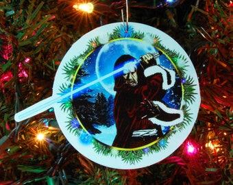 STAR WARS Obi Wan Kenobi Christmas Ornament, Christmas Decoration, 4inch round, fine art print, laminated