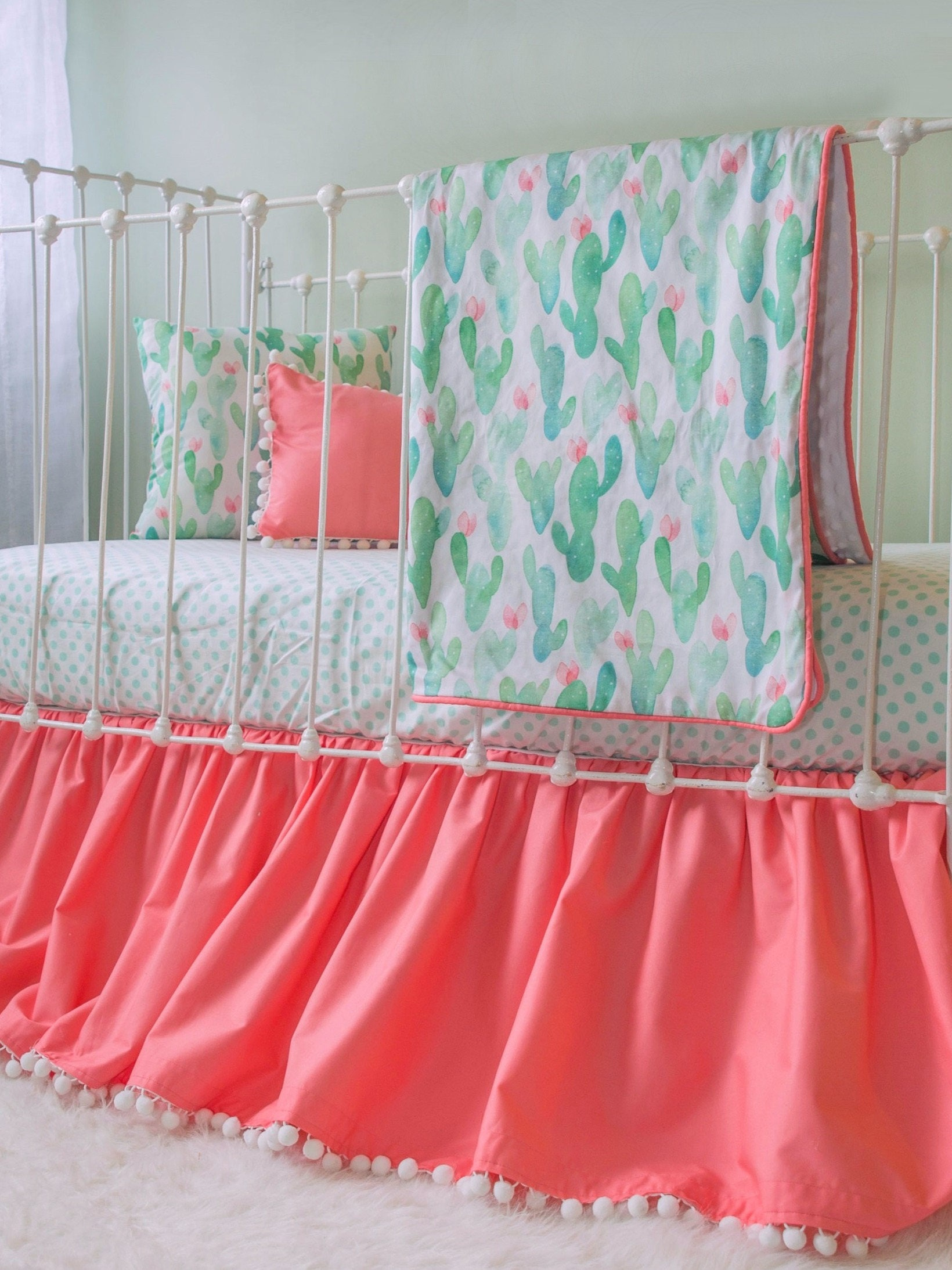 Cactus Blossom Coral and Mint Baby Girl Crib Set Watercolor