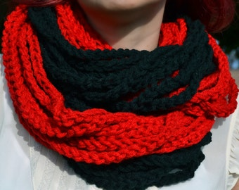 Red and black crochet cowl, womens scarf, crochet scarf, winter scarf, chunky cowl, loop infinity scarf, chain necklace, winter fashion