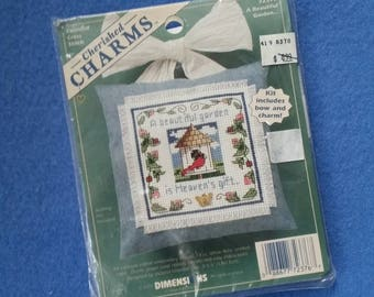 A Beautiful Garden counted cross stitch kit, Cherished Charms by Dimensions - butterfly, birdhouse and cardinal, new in package NIP 72376