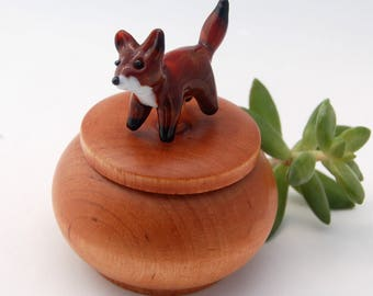Tiny Wood Trinket Box with Lampwork Glass Fox Topper Knob/Finial