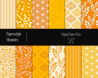 Tangerine Delusion - digital patterned paper - Instant Download -  digital scrapbooking - patterned paper - Commercial use