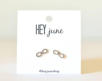 tiny infinity earrings, infinity stud earrings, infinity earrings, tiny infinity studs, gold infinity earrings, tiny gold infinity earrings