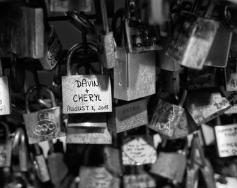 Personalized Wedding Gift Locks with Names Paris Bridge Black and White Romantic Photo Anniversary Gift pp185