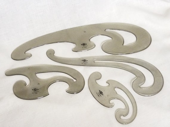 9 TOTAL PIECES - 4 Alvin French Curve Designs, 1 USA, 1 Tacro ...