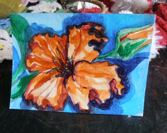 Flower Study Original Painting ACEO Art Card