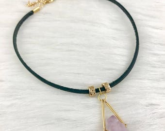 Amethyst Choker, Leather Choker, Gemstone Choker, Amethyst Necklace, Boho Jewelry, Crystal Choker, Amethyst Jewelry