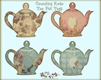 Country Rose Tea Pot Tags