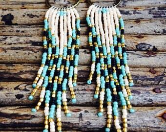 Long Beaded Earrings, Seed Bead Earrings, Tribal Jewelry, Hoop Seed Bead Earrings, Native American Inspired Jewelry