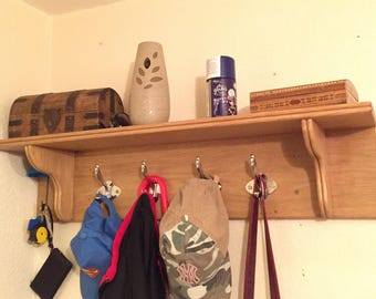 Oak Coat Rack and Shelf
