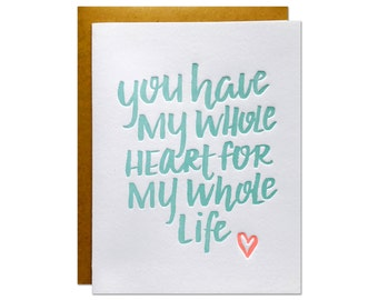 My Whole Heart Letterpress Card