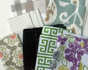 Green Fabric Scraps Bundle, Ecru Buffalo Check, Ticking Sage, Java Spa, Green Velvet, Towers, Best Floral, Delhi Dahlia, Home Decor REMNANTS