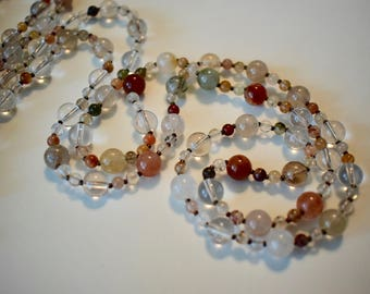 Quartz and Jasper Necklace with Mother of Pearl Heart