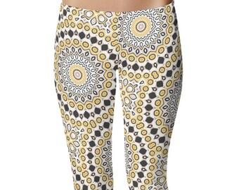 Modern Leggings, Stretchy Leggings, Black and Yellow Mandala Pattern Yoga Pants, Fashion Tights, Creative Clothing