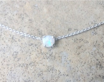 Genuine Opal (October Birthstone) 4mm Australian Opal choker necklace in Sterling Silver or Gold