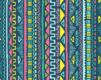 Maya blue fabric and celadon, Mexican, Aztec, stripes, 1/2 meter