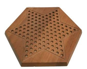 Vintage Piet Hein for Skjode Chinese Checkers Board Game in teak, made in Denmark, danish modern, marked Piet Hein