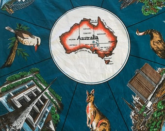 Tablecloth australia etsy 1960s australia tablecloth teal blue unused gumiabroncs Image collections