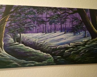 Forest at night acrylic painting