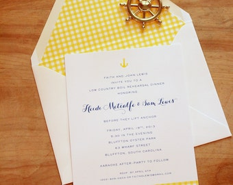 rehearsal dinner / wedding shower / engagement party / wedding eve party invitation - dropping anchor / nautical (navy and yellow)