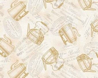 Tea Pot Fabric - Teapot Flora by Lula Bijoux Studio for Four Seasons 3014 4C Cream - Priced by the 1/2 yard