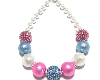 Toddler or Girls Blue and Pink Chunky Necklace - Easter Chunky Necklace - Pastel Pink Chunky necklace - Princess Necklace - Unicorn Necklace
