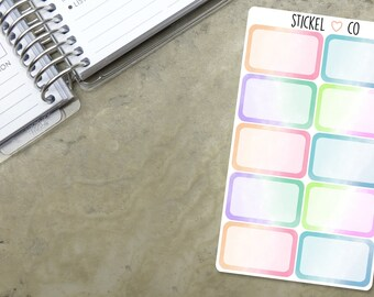 10 WATERCOLOUR Half Boxes - Planner Stickers, Perfect for Erin Condren and other Life Planners