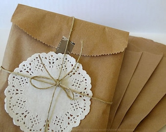 Brown Paper Bags 5x7 Kraft Paper Bags 50 BLANK Favor Bags Gift Wrapping (Doily, String, Tape NOT included)